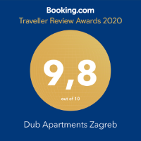 Booking.com Traveler Review Award 2020 Dub Apartments Zagreb